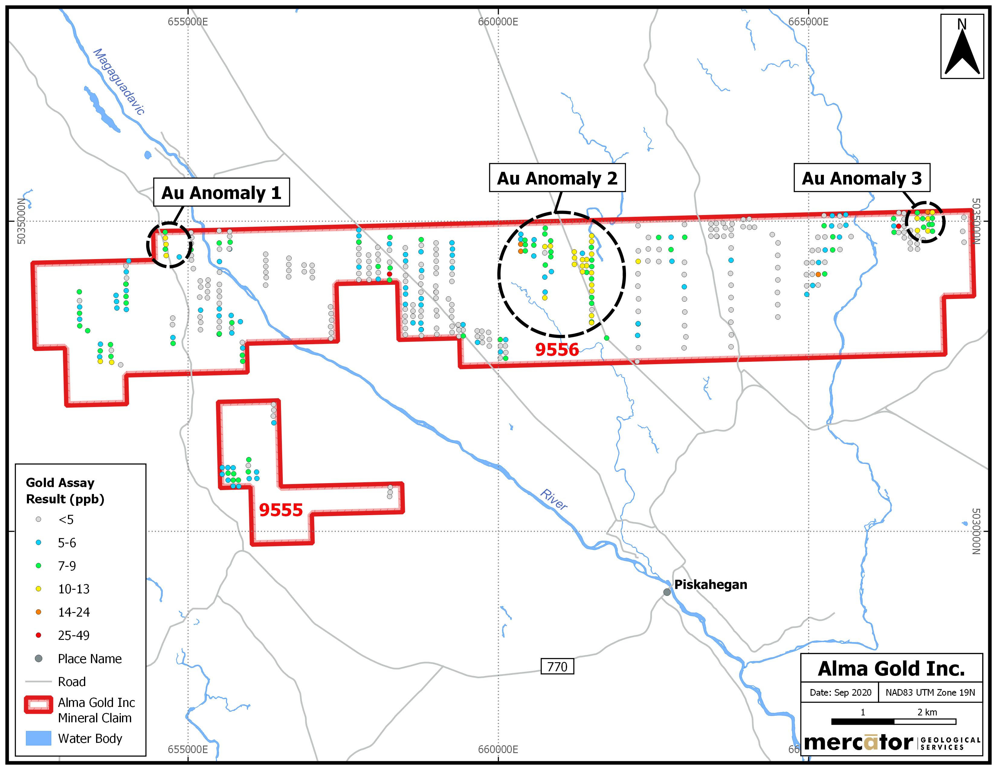 Figure 2: Clarence Stream North Gold Project – Phase One Soil Sample Results Compilation